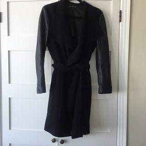 Zara wrap coat faux leather sleeves S